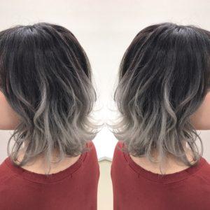 ホワイトアッシュ グラデーションヘア ホワイトヘア