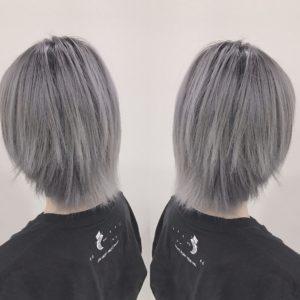 ホワイトヘア 根元暗め ホワイトアッシュヘア