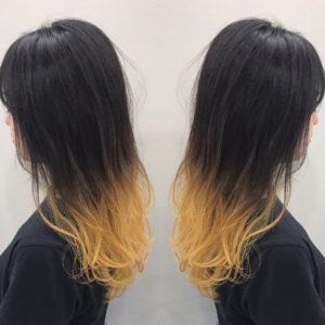 イエローグラデーションヘア ヘアカラー 黄色